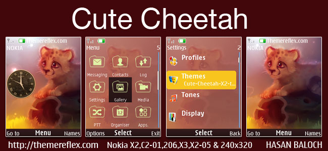 Cute Cheetah Theme for Nokia X2-00, X2-02, X2-05, X3-00, 206, 301, C2-01, 2700, 6303i & 240×320 devices
