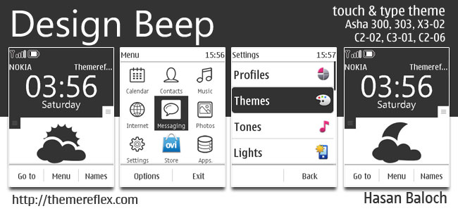 Design Beep Live Theme for Nokia Asha 202, 300, 303, X3-02, C2-02, C2-03, C2-06, C3-01, touch & type devices