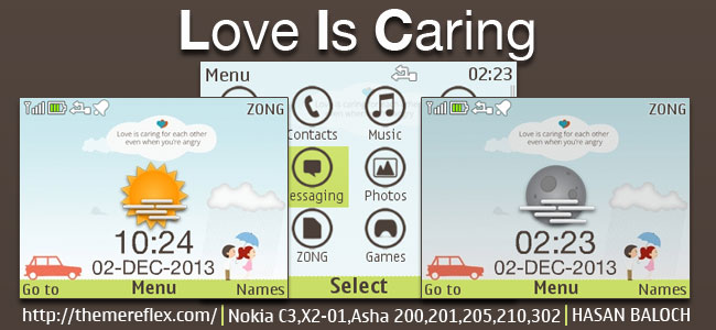 Love is Caring Live theme for Nokia C3-00, X2-01, Asha 200, 201, 205, 210, 302 & 320×240 devices