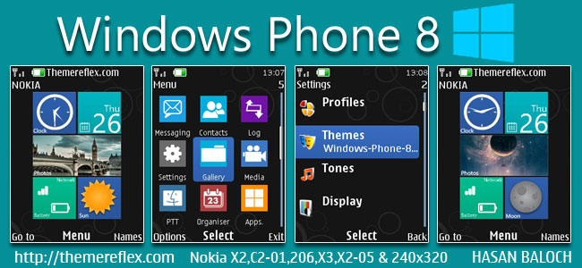 Windows Phone 8 Live theme for Nokia X2-00, X2-02, X2-05, X3-00, C2-01, 206, 301, 2700 & 240×320