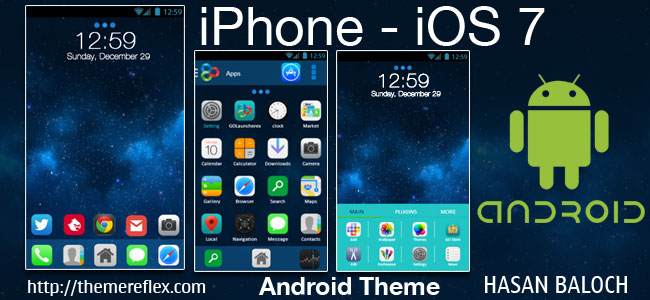 iPhone – iOS 7 theme for Samsung, Samsung Galaxy, Google, Google Nexus, HTC and Other Android Devices