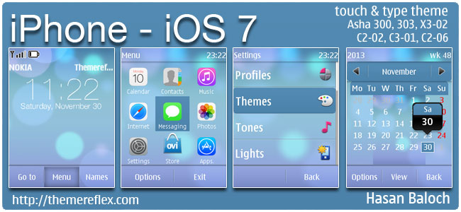iPhone – iOS 7 theme for Nokia Asha 202, 300, 303, X3-02, C2-02, C2-03, C2-06, C3-01, touch & type devices