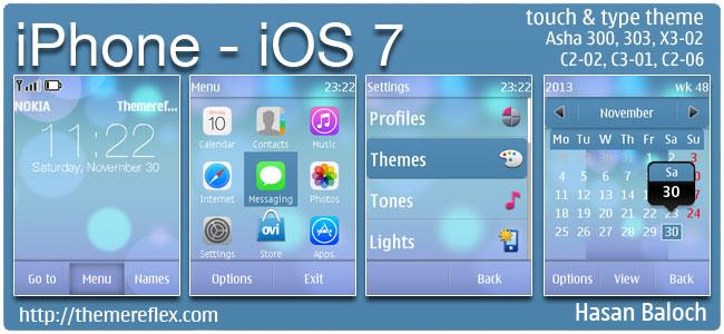 iPhone – iOS 7 theme for Nokia Asha 202, 300, 303, X3-02