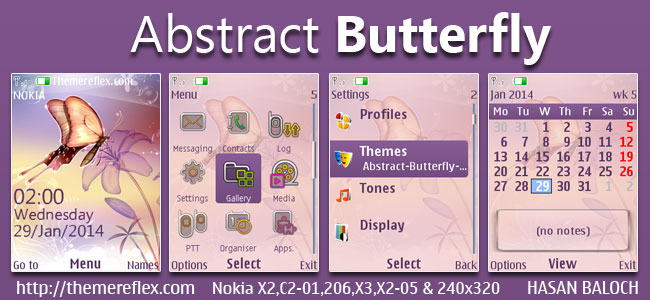 Abstract Butterfly Theme for Nokia X2-00, X2-02, X2-05, X3-00, C2-01, 206, 301, 2700 & 240×320 Devices