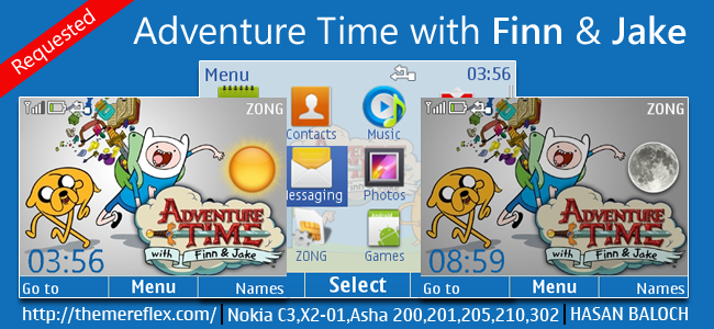 Adventure Time with Finn and Jake Live theme for Nokia C3-00, X2-01, 200, 201, 205, 210, 302 & 320×240 devices