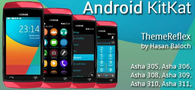 Android KitKat Theme for Nokia Asha 305, Asha 306, Asha 308, Asha 309, Asha 310, Asha 311 & full touch devices