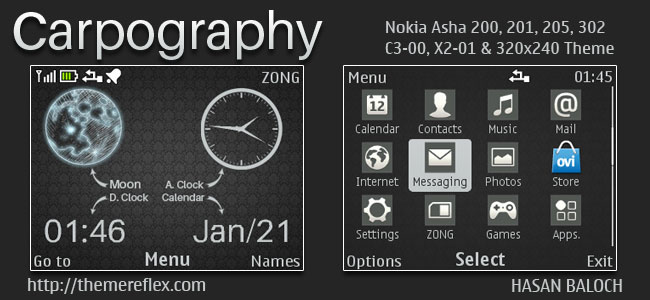 Carpography Live Theme for Nokia C3-00, X2-01, Asha 200, 201, 205, 210, 302 & 320×240 Devices