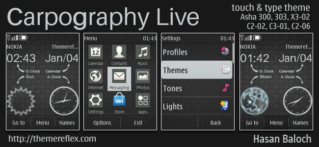 Carpography Live theme for Nokia Asha 202, 300, 303, C2-02, C2-03, C2-06, C3-01, X3-02, touch & type