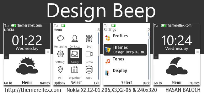 Design Beep Live Theme for Nokia X2-00, X2-02, X2-05, X3-00, C2-01, 2700, 206, 301 & 240×320 devices