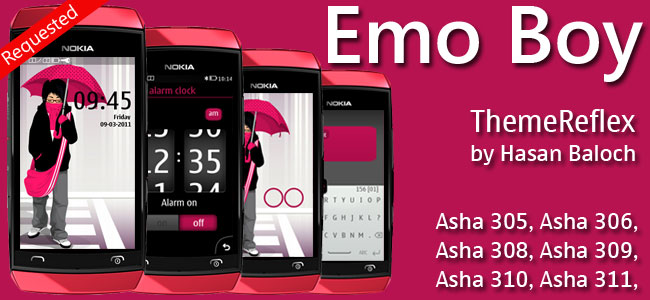 Emo Boy Theme for Nokia Asha 305, Asha 306, Asha 308, Asha 309, Asha 310, Asha 311 devices
