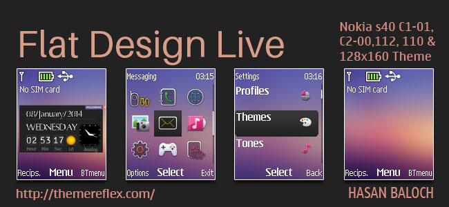 Flat Design Live Theme for Nokia C1-01, C1-02, C2-00, 107, 108, 110, 111, 112, 113, 2690 & 128×160 devices