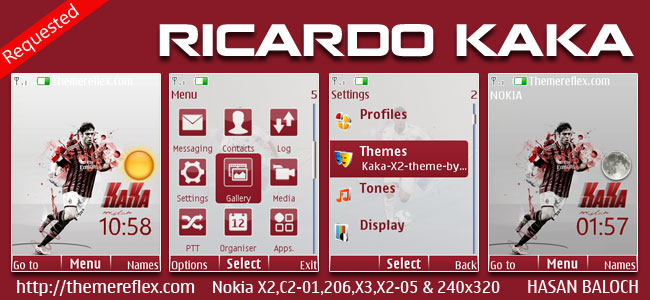 Ricardo Kaka Live Theme for Nokia X2-00, X2-02, X2-05, X3-00, C2-01, 2700, 206, 301 & 240×320