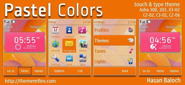 Pastel Colors Live Theme for Nokia Asha 202, 300, 303, X3-02, C2-02, C2-03, C2-06, C3-01, touch & type devices