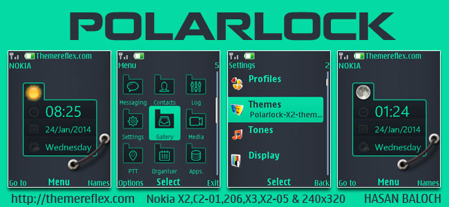 Polar Lock Live theme for Nokia X2-00, X2-02, X2-05, X3-00, C2-01, 206, 301, 2700, 6303i & 240×320 Devices (Updated)