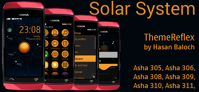 Solar System Theme for Nokia Asha 305, Asha 306, Asha 308, Asha 309, Asha 310, Asha 311 & full touch devices