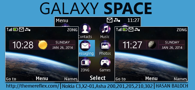 Galaxy Space Live Theme for Nokia C3-00, X2-01, Asha 200, 201, 205, 210, 302 & 320×240 Devices