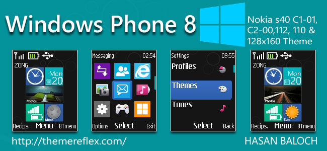 Windows Phone 8 Live & Animated Theme for Nokia C1-01, C1-02, C2-00, 2690, 107, 108, 109, 110, 111, 112, 113 & 128×160 Devices