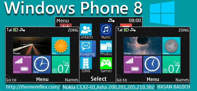 Windows Phone 8 Live & Animated theme for Nokia C3-00, X2-01, Asha 200, 201, 205, 210, 302 & 320×240 devices