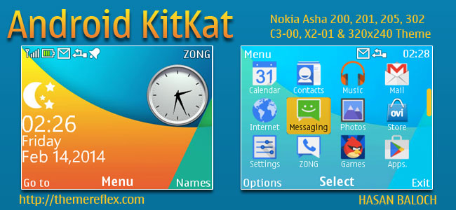 Android KitKat Live Theme for Nokia C3-00, X2-01, Asha 200, 201, 205, 210, 302 &  320×240 Devices