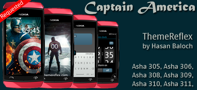 Captain America Theme for Nokia Asha 305, Asha 306, Asha 308, Asha 309, Asha 310, Asha 311 Devices