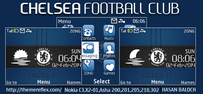 Chelsea FC Live Theme for Nokia C3-00, X2-01, Asha 200, 201, 205, 210, 302 & 320×240 Devices