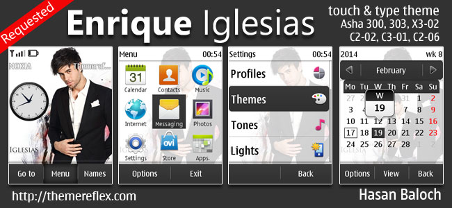 Enrique Iglesias Theme for Nokia Asha 202, 300, 303, X3-02, C2-02, C2-03, C2-06, C3-01, touch & type Devices