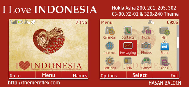 I Love Indonesia Theme for Nokia C3-00, X2-01, Asha 200, 201, 205, 210, 302 & 320×240 Devices