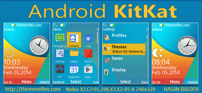 Android KitKat Live Theme for Nokia X2-00, X2-02, X2-05, X3-00, C2-01, 2700, 6303i, 206, 301 & 240×320 Devices