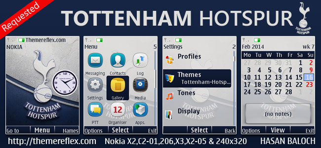Tottenham Hotspur Theme for Nokia X2-00, X2-02, X2-05, X3-00, C2-01, 2700, 206, 301, 6303i & 240×320 Devices