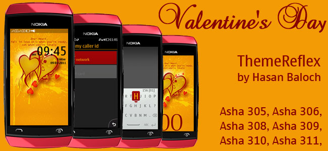 Valentine's Day Theme for Nokia Asha 305, Asha 306, Asha 308, Asha 309, Asha 310, Asha 311 Devices