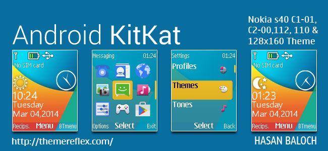 Android KitKat Live Theme for Nokia C1-01, C1-02, C2-00, 2690, 107, 108, 109, 110, 111, 112, 113 & 128×160 Devices