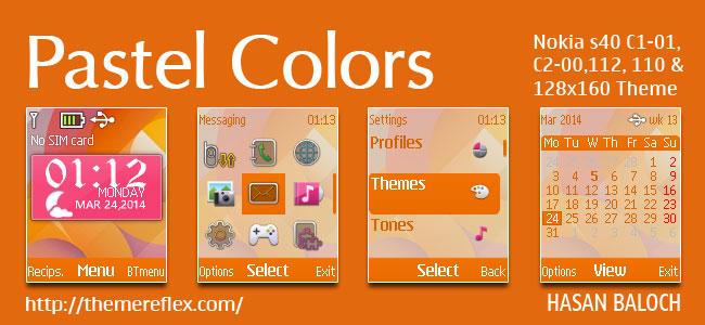 Pastel Colors Live Theme for Nokia C1-01, C1-02, C2-02, 107, 108, 109, 110, 111, 112, 113 & 128×160 Devices