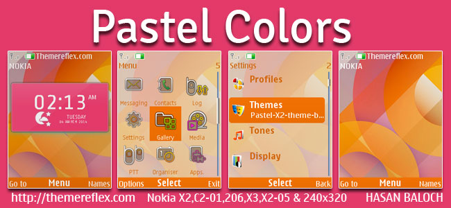 Pastel Colors Live Theme for Nokia X2-00, X2-02, X2-05, X3-00, C2-01, 206, 301, 2700 & 240×320 Devices