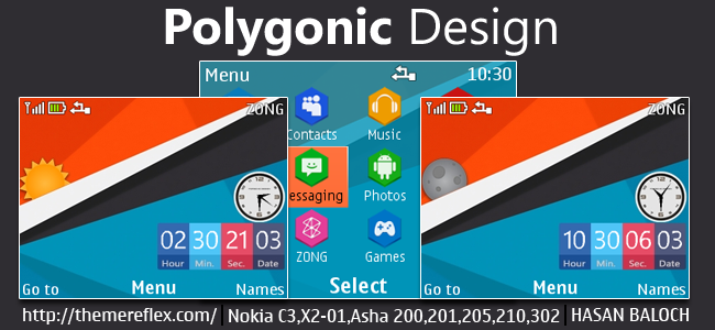 Polygonic Design Live Theme for Nokia C3-00, X2-01, Asha 200, 201, 205, 210, 302 & 320×240 Devices