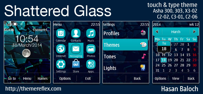 Shattered Glass Live Theme for Nokia Asha 202, 300, 303, X3-02, C2-02, C2-03, C2-06, C3-01, touch & type devices