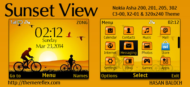 Sunset View Theme for Nokia C3-00, X2-01, Asha 200, 201, 205, 210, 302 & 320×240 Devices