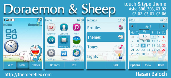 Doraemon and The Sheep Theme for Nokia Asha 202, 300, 303, X3-02, C2-02, C2-03, C2-06, C3-01, touch & type