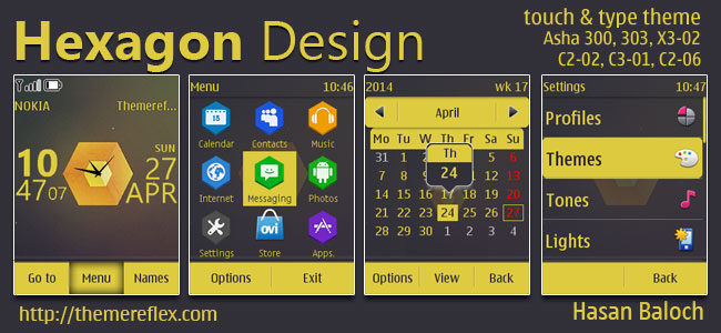 Hexagon Design Theme for Nokia Asha 202, 300, 303, X3-02, C2-02, C2-03, C2-06, C3-01, touch & type devices