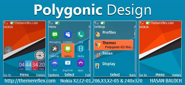 Polygonic Design Live Theme for Nokia X2-00, X2-02, X2-05, X3-00, C2-01, 206, 301, 2700, 6303i & 240×320 Devices