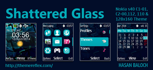 Shattered Glass Live Theme for Nokia C1-01, C1-02, C2-00, 2690, 107, 108, 109, 110, 111, 112, 113 & 128×160 Devices