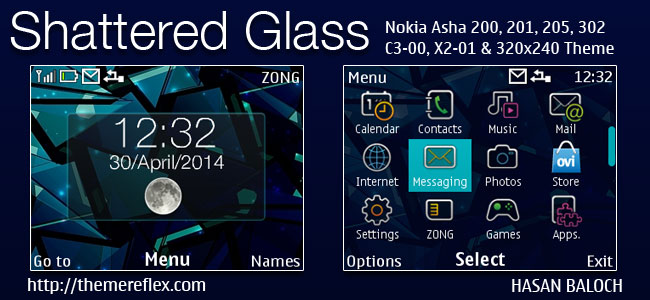 Shattered Glass Live Theme for Nokia C3-00, X2-01, Asha 200, 201, 205, 210, 302 & 320×240 Devices