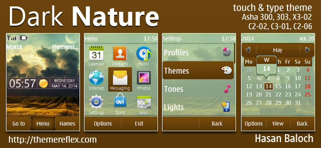 Dark Nature Live Theme for Nokia Asha 202/300/303, X3-02, C2-02, C2-03, C2-06, C3-01, touch & type devices