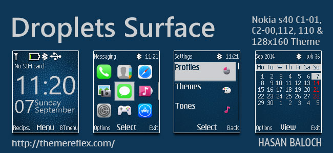 Droplets Surface Theme for Nokia C1-01, C1-02, C2-00, 107, 108, 109, 110, 111, 112, 113 & 128×160 Devices