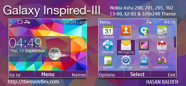 Galaxy Inspired-III Live Theme for Nokia C3-00, X2-01, Asha 200. 201. 205. 210. 302 & 320×240 Devices