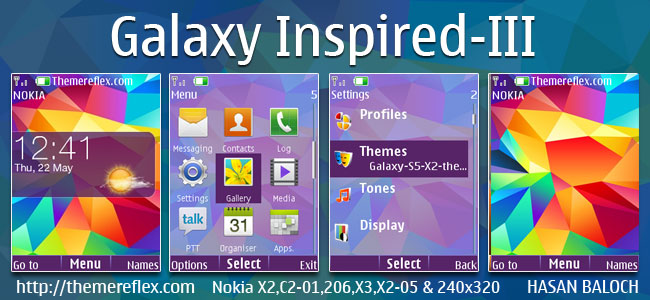 Galaxy Inspired-III Live Theme for Nokia X2-00, X2-02, X2-05, X3-00, C2-01, 2700, 206, 301, 6303i & 240×320 Devices