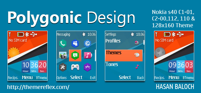 Polygonic Design Live Theme for Nokia C1-01, C1-02, C2-00, 107. 108, 109, 110, 111, 112, 113, 2690 & 128×160