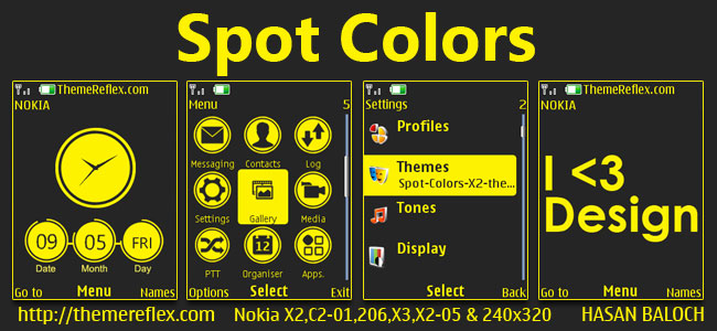 Spot Colors Theme for Nokia X2-00, X2-02, X2-05, X3-00, C2-01, 2700 ...