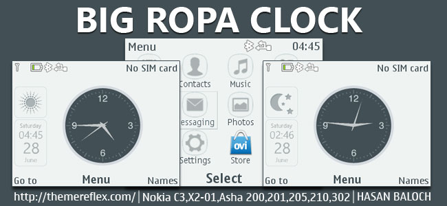Big Ropa Clock Live Theme for Nokia C3-00, X2-01, Asha 200, 201, 205, 210, 302 & 320×240
