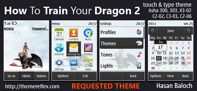 How To Train Your Dragon 2 Theme for Nokia Asha 202/300/303, X3-02, C2-02, C2-03, C2-06, C3-01 and touch & type devices