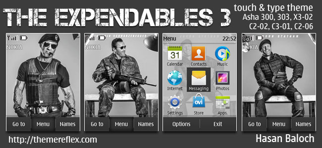 The Expendables 3 Animated Theme for Nokia Asha 202/300/303, X3-02, C2-02, C2-03, C2-06, C3-01 and touch & type devices